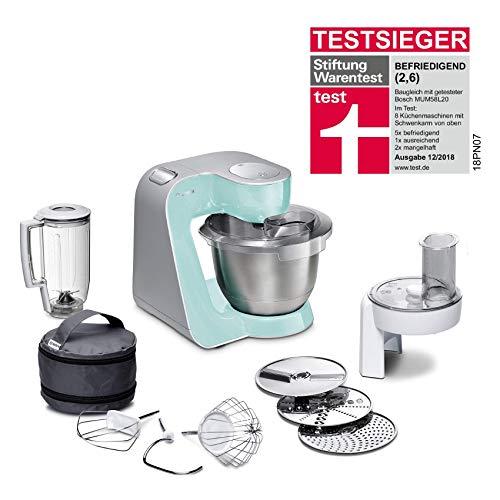 Bosch MUM5 CreationLine Küchenmaschine MUM58020, vielseitig einsetzbar, große Edelstahl-Schüssel (3,9l), Mixer, Durchlaufschnitzler, 1000 W, türkis/silber