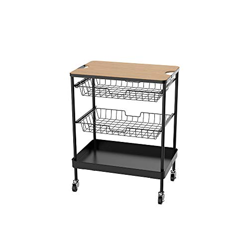 SEVVY 4-Tier Kitchen Cart with Wire Baskets - Kitchen Island Trolley with Locking Wheels - 2 Sliding Wire Baskets for Cooking Utensils or Food Storage with Wood Top