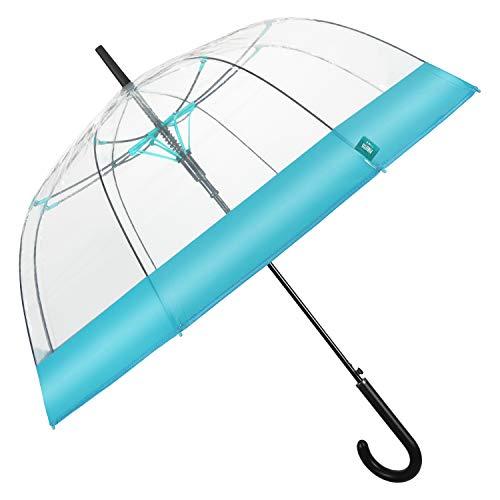 Paraguas Mujer Transparente Banda Colorada - Paraguas Forma a Cúpula Automático - Paraguas Resistente en Fibra de Vidrio - Diámetro 89 cm - Perletti (Azul Matizado)