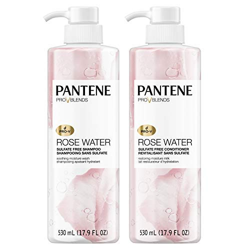 Pantene Shampoo and Sulfate Free Conditioner Kit Paraben and Dye Free ProV Blends Soothing Rose Water 179 fl oz Twin Pack