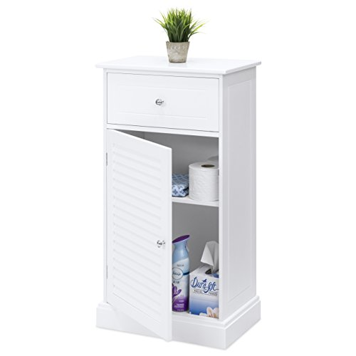 Best Choice Products Wooden Bathroom Floor Cabinet w/ 2 Shelves and Drawer Storage Compartment, White