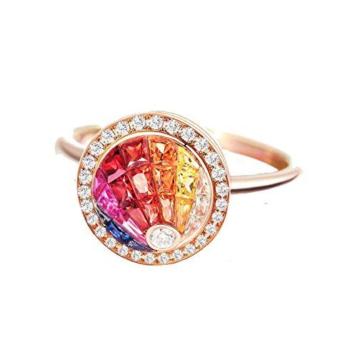 AnaZoz (Tamaño Personalizado) 18K Oro Joyas Anillo Diamante Anillo Mujer Anillo Multicolor Zafiro Rubí Piedras Preciosas Anillo de Diamante Anillo Oro Rosa Tamaño del Anillo 20