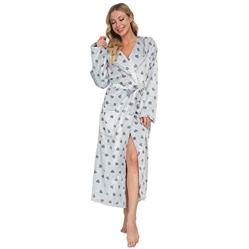 Mnemo Damen Fleece Bademantel mit Sternen Langarm Morgenmantel Saunamantel mit Kapuze und Taschen