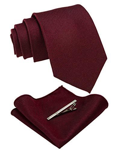 JEMYGINS Krawatte Herren Klassische Baumwoll Karierte Mehrfarbige Weinrot Inklusive Einstecktuch Krawattenklammer Set