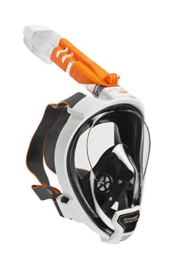 OCEAN REEF - ARIA QR+ Schnorchelmaske - Tauchermaske mit Mundstück - Für eine bessere 180 Grad Unterwassersicht - Unisex - Weiß - Größe S/M