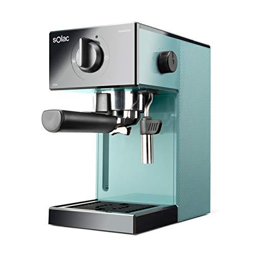 Solac CE4504 Squissita Easy Blue - Cafetera espresso, 20 bar, Double Cream, Espresso y Cappuccino, 1050 W, Portafiltros 1 ó 2 cafés, Monodosis/molido, Vaporizador de acero inoxidable, 1.5 l, Azul