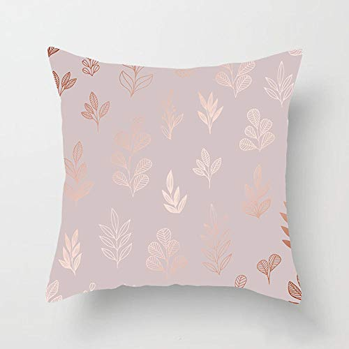 JIAORLEI With Pillow & Cushion Innerrose Gold Pink Geometric Plants Leaves Print Cushion Cover Modern Nordic Fashion Pillows Cover Decorative Sofa Couch Pillow Case-45X45Cm