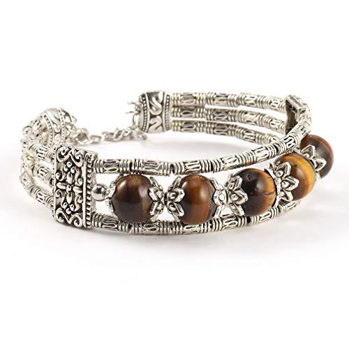 Tibetaanse 3-laags metalen armband Stenen kralen Bedelarmbanden en armbanden Dames Polsbandjes Sieraden Zilverkleur Vintage kettingzilver