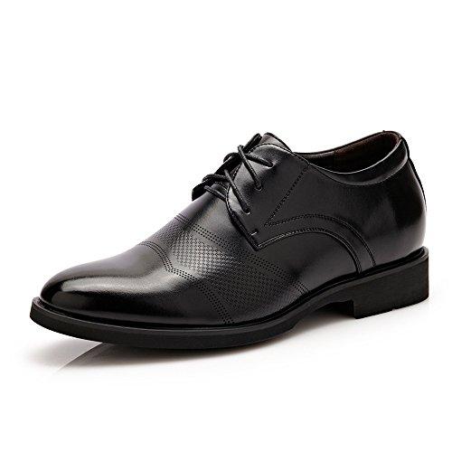 XIANGBAO-Persönlichkeitsfall 6CM Taller Classic Herren PU Leder Höhe Zunehmende Aufzug Schuhe Business Lace Up Oxfords (herausnehmbare Einlegesohle) (Color : Schwarz, Größe : 40 EU)