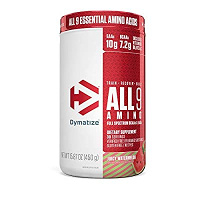 Dymatize All9 Amino, 7.2g of BCAAs, 10g of Full Spectrum Essential Amino Acids Per Serving for Recovery and Optimal Muscle Protein Synthesis, Juicy Watermelon, 30 Servings, 15.87 Ounce