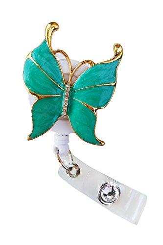 Sizzle City Rhinestone Brooch Badge Reels, Nurse Badge Retractable ID Badge Holder, Name Tag (Bling Green Butterfly Reel)