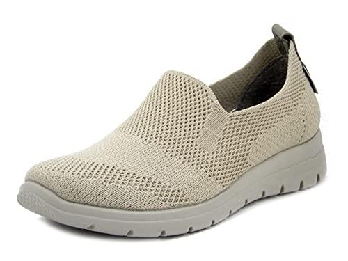 Fly Flot Sneaker Estive in Tessuto Semi Elasticizzato Beige, Plantare Estraibile in Memory Foam, Zeppa Bassa, 27D38