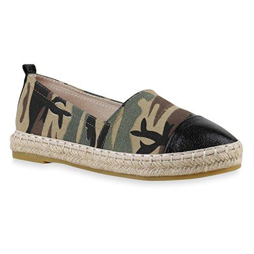 stiefelparadies Bequeme Damen Slipper Espadrilles Leder-Optik Nieten Fransen Flats Sommer Spitze Camouflage Print Schuhe 143519 Camouflage 38 Flandell