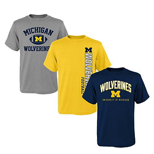 Outerstuff NCAA Youth Boys 8-20 Michigan 3Piece Tee Set, L(14-16), Assorted