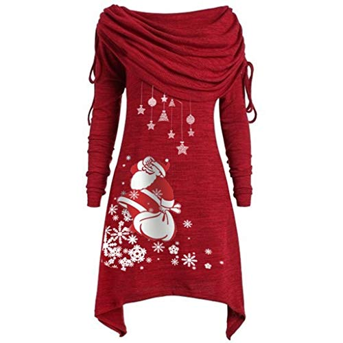 Forthery-Women Plus Size Long Sleeve Christmas Santa Claus Snowflake Print Foldover Collar Ruched Irregular Long Tops Red