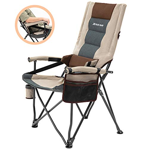 Outdoor Lumbar Support Camping Chair Padded Lawn Chair Folding Chair