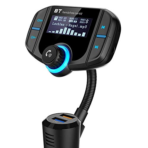 WNN-URG Car Bluetooth FM Transmitter, Wireless Radio Adapter Handsfree Kit with 1.7 Inch Display, QC3.0 And Smart 2.4A USB Port, AUX Output, TF Card Mp3 Player URG