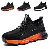 YISIQ Zapatos de Seguridad para Hombre Mujer Transpirable Ligeras con Puntera de Acero Trabajo Calzado de Zapatos de Industrial y Deportiva Unisex, 07 Negro, 37 EU
