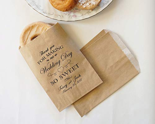 Wedding Donut Bags, Cookie Bags, Party Favor, Dessert Table, Bakery Bags, Wedding Kraft Paper Bags - Personalized - Lined, Grease Resistant - Set of 25