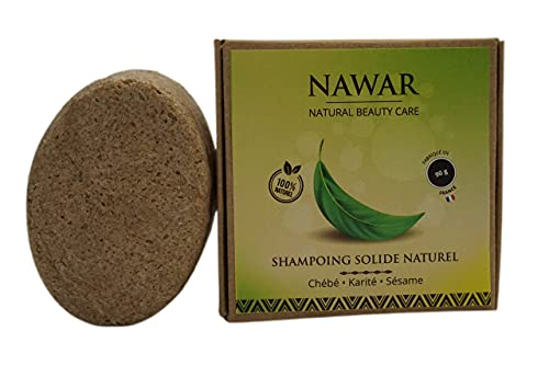 Shampoing solide Naturel artisanal -NAWAR - chébbé, Karité, Huile de Sésame 90g cheveux plus épais plus longs 100% biodégradable