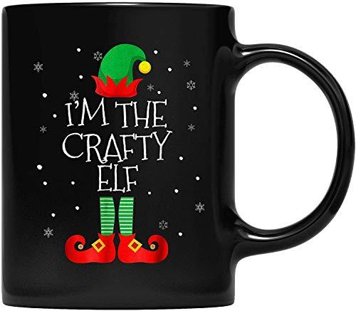 DKISEE Taza de caf con texto en ingls 'I M The Crafty ELF para padre y madre, abuelo, abuela y amiga, regalo familiar, disfraz de Navidad, 325 ml