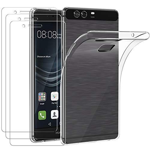ivoler Funda para Huawei P9 + 3 Unidades Cristal Templado, Transparente TPU Silicona Anti-Choque Anti-arañazos [Carcasa + Vidrio Templado] Protector de Pantalla y Caso