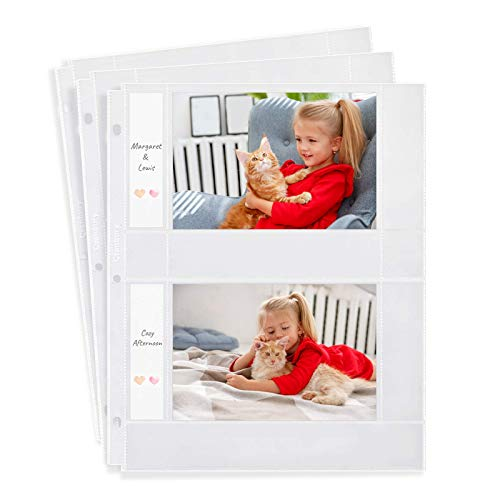 CRANBURY Photo Sleeves for 3-Ring Binder - (4x6 Horizontal, 12 Pack) Includes Memo Cards, Holds 48 4 x 6 Pictures or Recipe Cards, Each Photo Sleeve Protector Page Holds 4, Photo Album 4x6 Refill Page