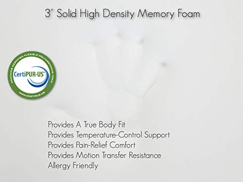 Better Habitat CertiPUR-US SleepReady Solid Memory Foam Floor & Camping Mattress (75 x 36 x 3). 100% Memory Foam Roll Out, Portable Sleeping Pad, Waterproof Cover & Travel Bag.