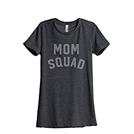 Thread Tank Mom Squad Women's Relaxed T-Shirt Tee Charcoal Grey