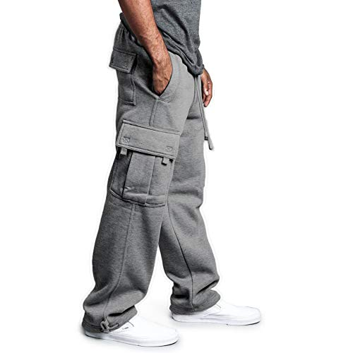 Men's Fleece Cargo Sweatpants Solid Heavyweight Casual Pants Fashion Sport Trousers with Pockets (A Grey, M)