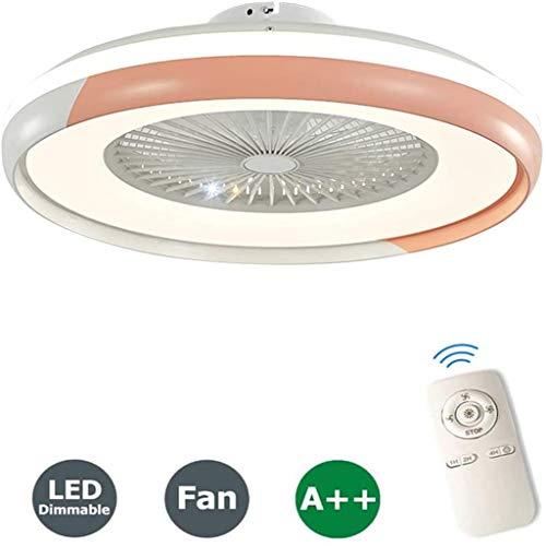 LED Plafondventilator Met Verlichting En Afstandsbediening Stille 60W Plafondlamp Dimbaar Met Afstandsbediening 3 Standen Verstelbaar Moderne Slaapkamer Onzichtbare Kinderkamer Ventilator,Pink