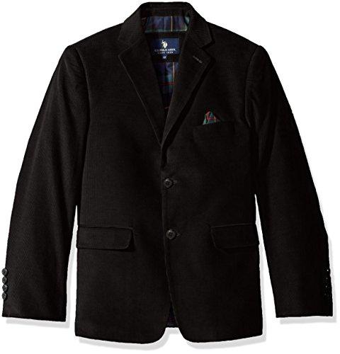 U.S. POLO ASSN. Boys' Sport Coat, CDM1010J-Corduroy-Black, 8