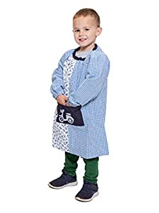 Ardeco's - Bata guardería sin botones Motos azul niño (2)