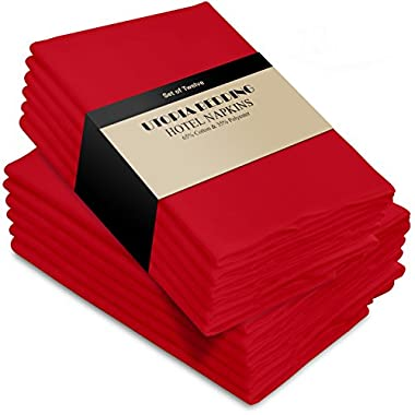 Utopia Bedding Cotton Dinner Napkins - Red - 12 Pack (18 inches x 18 inches) Soft and Comfortable - Durable Hotel Quality - Ideal for Events and Regular Home Use