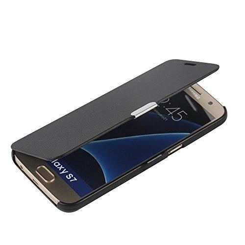 MTRONX für Samsung Galaxy S7 Hülle, Case Cover Schutzhülle Tasche Etui Klapphülle Magnetisch Dünn Leder Folio Flip für Samsung Galaxy S7 - Schwarz(MG-BK)