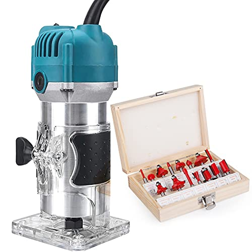 Compact Router Tool with Fixed Base,800W 30000R/MIN Palm Router Electric Hand Trimmer Wood Router 1/4' Collets Woodworking Tool with 15PCS 1/4' Router Bits