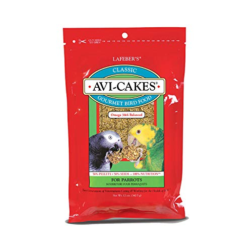 LAFEBER'S Classic Avi-Cakes Pet Bird Food, Made with Non-GMO and Human-Grade Ingredients, for Parrots, 12 oz