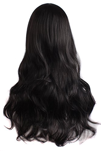 MapofBeauty Charming Women's Long Curly Full Hair Wig (Black)