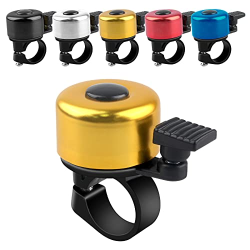 ADOGO Fahrradklingel, Fahrrad Klingel laut und klar, Fluminiumlegierung Fahrradglocke Laut für Mountainbike, Citybike, Rennrad, 22.2mm-22.8mm Lenker (Gelb)