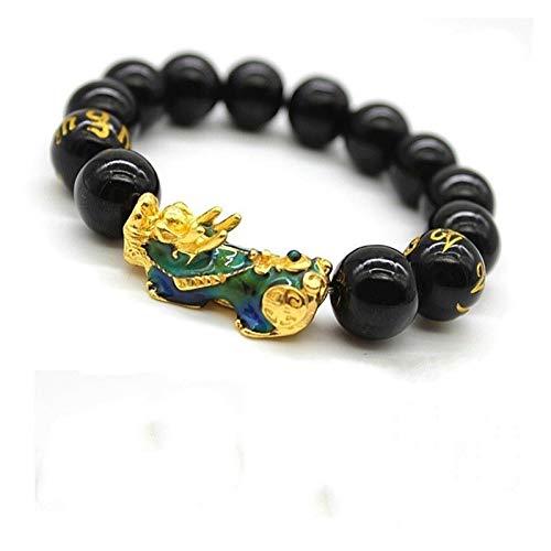 XYBB PIXIU Pulsera de obsidiana Feng Shui Black Bead Aleación de la aleación Pulsera Charm Hecho a Mano Lucky Amulet Pulsera Regalo (Metal Color : A 12MM)