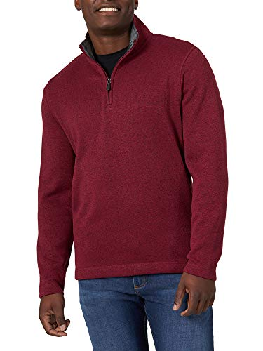Wrangler Authentics Men's Sweater Fleece Quarter-Zip, zinfandel heather, Large