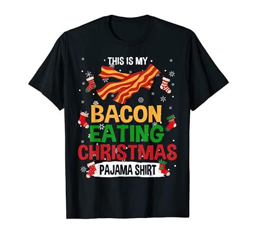 Esta es mi tocino comer Navidad pijama camisa tocino amante Camiseta