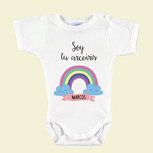 Body Bebé Personalizado con Nombre 100% Algodón Orgánico'Soy tu Arco-Iris' (18 meses)