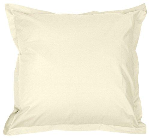 Funda de almohada y funda de almohada de percal Pur algodón peinado larga fibras 80hilos/cm², marfil, Taie d'oreiller 65 x 65 cm