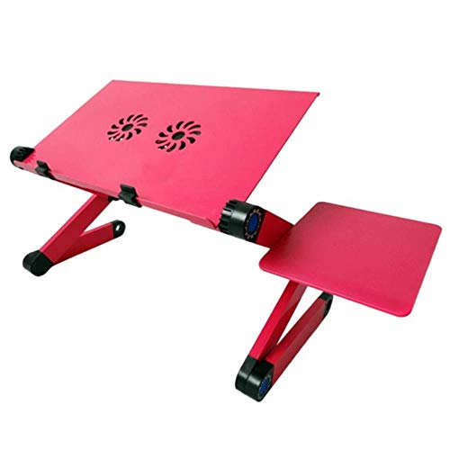 New Cooling Laptop Computer Table Bed Aluminum Alloy Foldable Computer Desk Desk Lazy Aluminum Folding Table Computer Stand for Laptop Adjustable,Double Cooling Fan