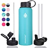 Sendestar 40 oz Double Wall Vacuum Insulated Leak Proof Stainless Steel Sports Water Bottle—Wide Mouth with Straw Lid & Flex Cap & Spout Lid (Sky Blue)