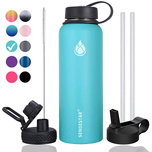 Sendestar 32 oz Double Wall Vacuum Insulated Leak Proof Stainless Steel Sports Water Bottle—Wide Mouth with Straw Lid & Flex Cap & Spout Lid (Sky Blue)