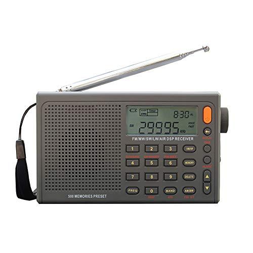 C- Digitales tragbares Radio Stereo FM/LW/SW/MW/AIR/DSP mit LCD Sound Alarmfunktion für Indoor-Outdoor-Aktivitäten für Eltern