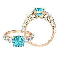 3.50カラットスイスブルートパーズソリティアリングモアッサナイトアクセント付き女性用婚約指輪サイドストーンリング 8MMクッションカットスイスブルートパーズ, 14K ローズゴールド, Size: 19