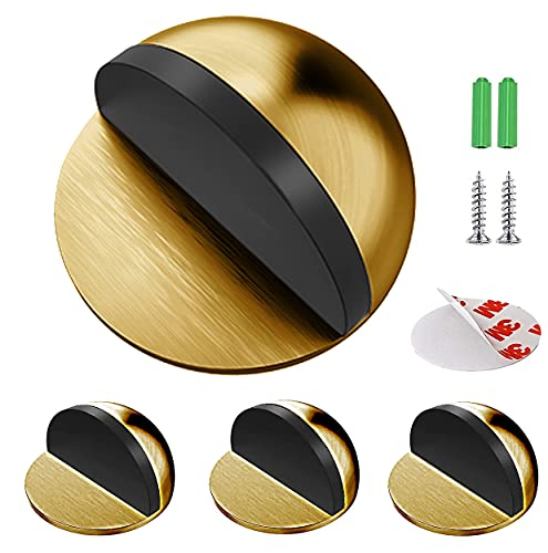 Junlic Tope de Puerta para Suelo, [Set de 4] Topes para Puertas de Piso de Acero Inoxidable Autoadhesivo Protección de Pared y Muebles Latón